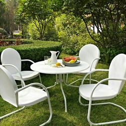 5-Pc Dining Set 1-Table 4-Chairs Steel Outdoor Patio Furnitu