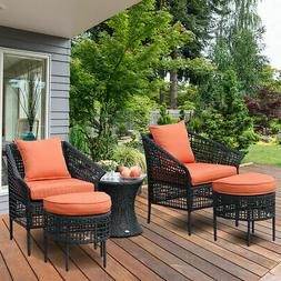 5 PCS Furniture Dining Sets Leisure Set Patio Rattan Seats T