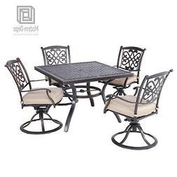 5 PCS Outdoor Dining Set Patio Furniture, Cushioned Swivel C