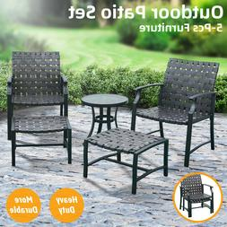 5 PCS Outdoor Patio Furniture Dining Chairs Set Side Table S