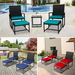 5 PCS Outdoor Patio Rattan Wicker Furniture Bistro Chair Tab