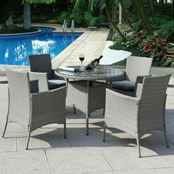 5 PCS Patio Furniture set Outdoor Rattan Dining Table Chair
