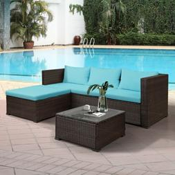 5 PCS Rattan Sectional Sofa Set Patio Furniture Outdoor Wick