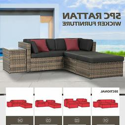 5 PCS Rattan Wicker Sofa Set Sectional Couch Cushioned Patio