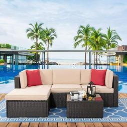 5 Pcs Rattan Wicker Sofa Set Sectional Couch Cushioned Furni