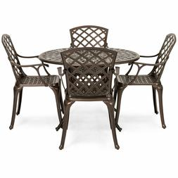 5 PCS Set Cast Aluminum Patio Dining Chair Table Furniture O