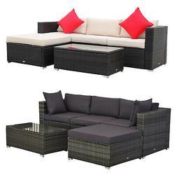 Outsunny 5-Piece Outdoor Patio Rattan Furniture Set w/ Ottom