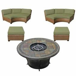 """5 Piece Patio Furniture Set with 48"""" Round Fire Pit Table an"""