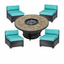 5 Piece Patio Furniture Set with Firepit & 4 Belle Wicker Ch