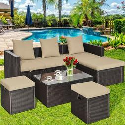 Tangkula 5-Piece Wicker Patio Conversation Furniture Set, Ou