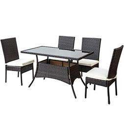 Merax 5 Pieces Indoor Outdoor Dining Set PE Rattan Garden Di