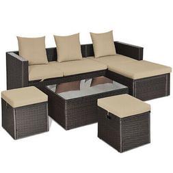 5 Pieces Patio Rattan Sofa Table Set Outdoor Wicker Patio Fu