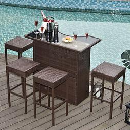5pc Outdoor Rattan PE Wicker Bar Set Bistro Patio Dining Fur
