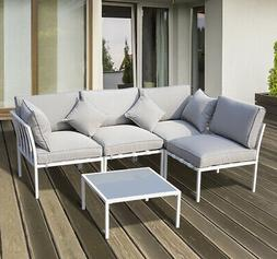 5PC Patio Garden Sofa Set Sectional Furniture Outdoor Couch