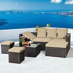 5pc wicker patio furniture set outdoor sectional