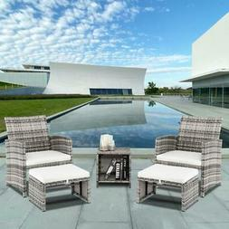 5PCS Outdoor Patio Rattan Wicker Sofa Furniture Set Tea Tabl