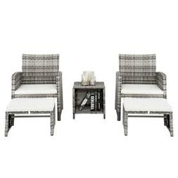 5PCS Outdoor Patio Rattan Wicker Sofa Furniture Set Table So