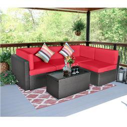 5PCS Outdoor Patio Sectional Furniture Sofa Set Rattan Wicke