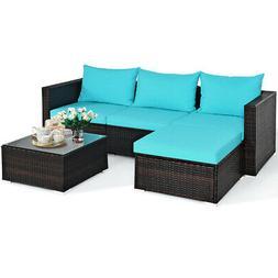 5PCS Patio Furniture Set Sectional Conversation Sofa Set w/