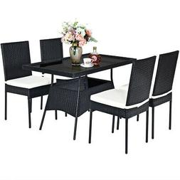 5pcs patio rattan dining set wicker chair