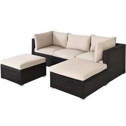 5PCS Patio Rattan Sectional Conversation Ottoman Furniture S