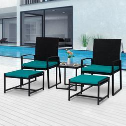 5PCS Patio Wicker Furniture Set Bistro Chair W/ Table Cushio