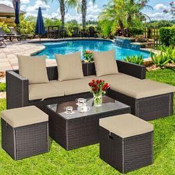 5Pcs Rattan Patio Outdoor Furniture Set Adjustable Sofa Cush