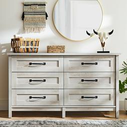 6 Drawer Rustic Dresser Chest Cabinet White Bedroom Furnitur
