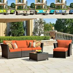 6 pcs Patio Furniture Rattan Wicker Sofa Outdoor Garden Sect
