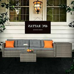 Outdoor Funiture 4PC Rattan Wicker Set Cushioned Lawn Sofa G