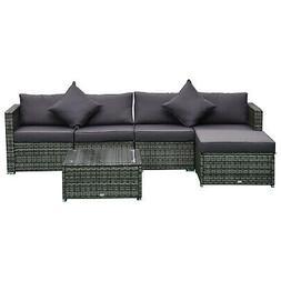 Outsunny 6-Piece Outdoor Patio Rattan Wicker Furniture Sofa