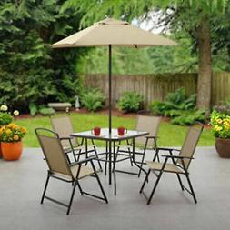 6 Piece Patio Dining Set Folding Table Chairs Umbrella Outdo