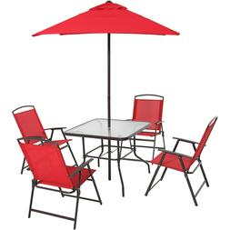 Patio Table 6 Piece Dining Set Folding Chairs Umbrella Outdo