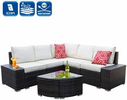 6 Pieces Outdoor Patio Furniture Sets, All-Weather PE Rattan