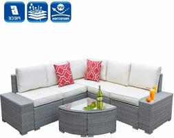 6 Pieces Outdoor Patio Furniture Sets All-Weather PE Rattan