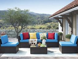 6 Pieces Patio Outdoor Furniture Set Low Back All-Weather Ra