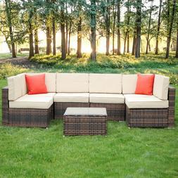 6 Seaters Rattan Garden Furniture Set Patio Lounge Sofa Stoo