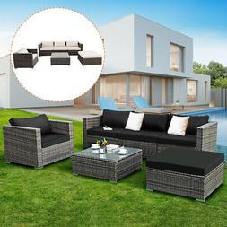 6PC Furniture Set Steel Patio Sofa PE Gray Rattan Couch 2 Se