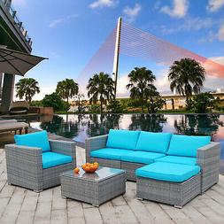 6PCs Patio Furniture Set Rattan Wicker Sectional Outdoor Sof