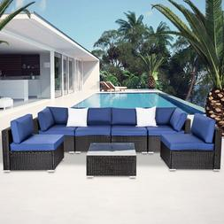 Kinsunny 7 PC Patio Rattan Wicker Sofa Set Cushioned Section