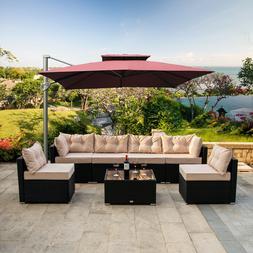 7 PCS Outdoor Patio Garden Furniture Sectional Rattan Sofa S