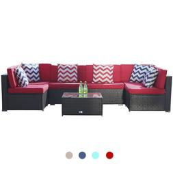7 PC Patio Rattan Wicker Sofa Set Sectional Couch Cushioned