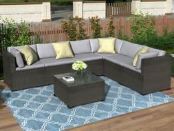 7 PC Rattan Furniture Sectional Home Outdoor Garden Patio Ba