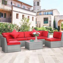 7 PCS Outdoor Patio Rattan Wicker Sofa Set Cushioned Section