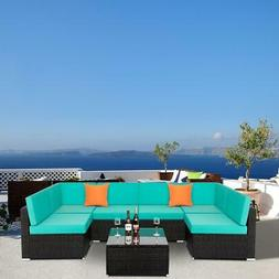 7 Pcs Outdoor Sofa Furniture Patio Rattan Wicker Sectional S