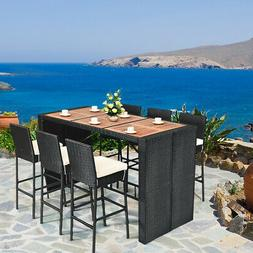 7 PCS Patio Rattan Wicker Bar Dining Furniture Set wood Tabl