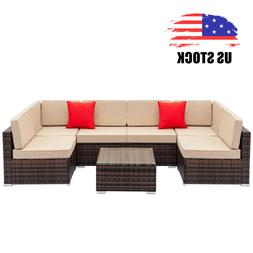 7 PCS Patio Rattan Wicker Sofa Set Sectional Couch Cushioned