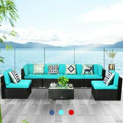 7 PCS Patio Rattan Wicker Sofa Set Cushioned Furniture Outdo