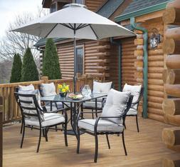 7 Piece Cushion Patio Dining Set with Optional Umbrella Outd