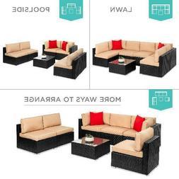 7 piece modular outdoor patio furniture set
